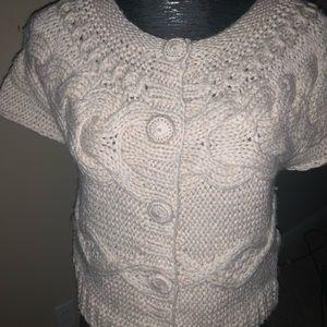Lucky brand sweater hand knit tan s/s layering